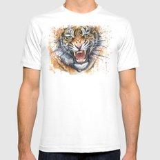Tiger Watercolor Wild Animal Jungle Animals Mens Fitted Tee MEDIUM White