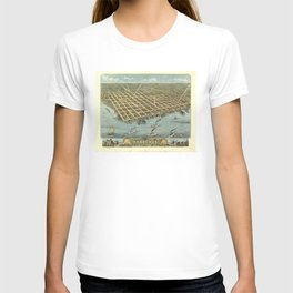 Vintage Pictorial Map of Sandusky OH (1870) T-shirt