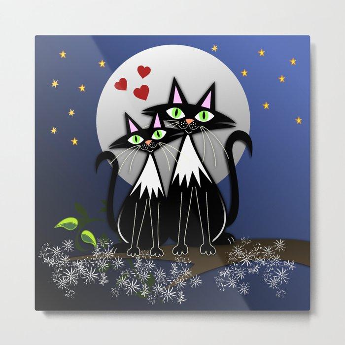 Spring cats in love, vector illustration Metal Print