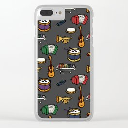 Toy Instruments on Grey Clear iPhone Case