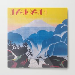 Japan, Mt. Fuji, Vintage Travel Poster Metal Print