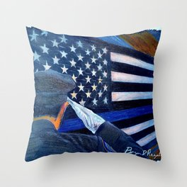 """""""Stay Safe"""" Thin Blue Line - Police - Law Enforcement - Original Art Drawing by Bryn Reynolds Throw Pillow"""