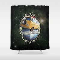 vw bus Shower Curtains featuring VW T1 Bus - Cross the World by GET-THE-CAR