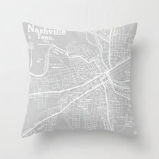Vintage Nashville Gray Throw Pillow