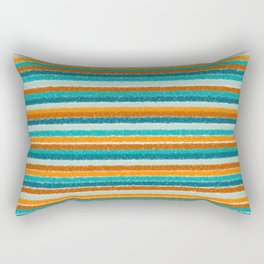 Textured Summer Stripes Pattern in Orange, Rust, Turquoise, Teal, and White Rectangular Pillow