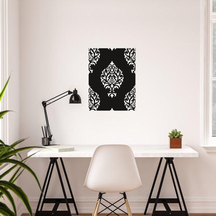 Orna Damask Pattern White on Black Poster