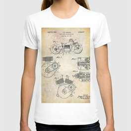 1943 Paper Indian Motor Company Drive Shaft for Motorcycles Patent T-shirt