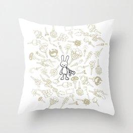 minima - beta bunny / gear Throw Pillow