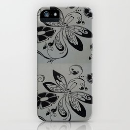 Dragonfly retro flowers iPhone Case
