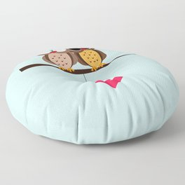 Love owls on the branch, blue background Floor Pillow