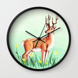 Spring Deer Wall Clock