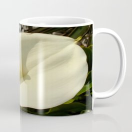 Single Cream White Calla Lily With Garden Background Coffee Mug