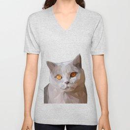 Gray Cat Lowpoly Art Illustration Unisex V-Neck