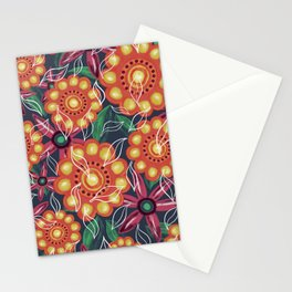 Retro Oil Flowers on Teal Green Stationery Cards