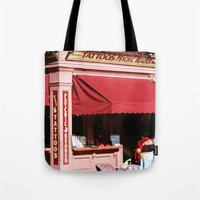 tattoos Tote Bags featuring Tattoos & Psychics  by Ink and Paint Studio