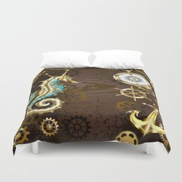 Wooden Background with Mechanical Seahorse ( Steampunk ) Duvet Cover