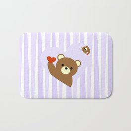 Valentine bear blue Bath Mat