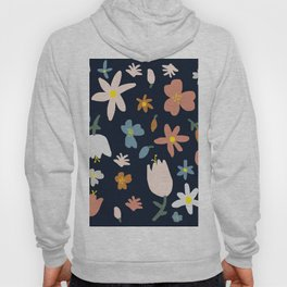 Blooming in the Navy (Handmade Floral Pattern) Hoody