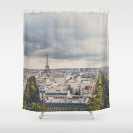 the Eiffel Tower in Paris on a stormy day. Shower Curtain