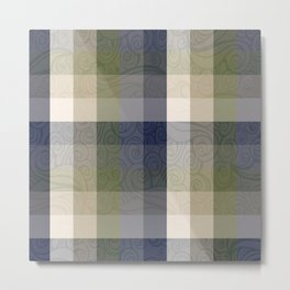 Chambray Fiord Swirly Plaid Metal Print