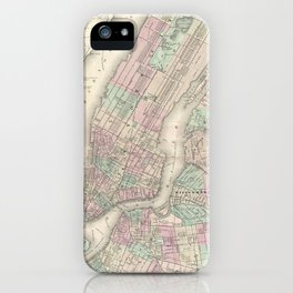 Vintage Map of NYC and Brooklyn (1865) iPhone Case