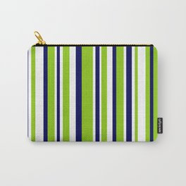 Lime Green Bright Navy Blue and White Vertical Stripes Pattern Carry-All Pouch