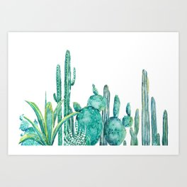 green cactus jungle watercolor Art Print