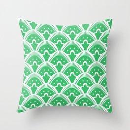 Fan Pattern Green Throw Pillow
