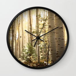 Light Among the Aspens x Rustic Mountain Art Wall Clock