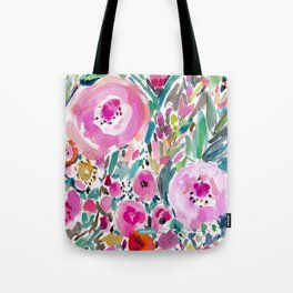 Pink Pow Wow Abstract Painterly Floral Tote Bag