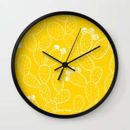 Yellow Sketch Cactus Repeat Wall Clock