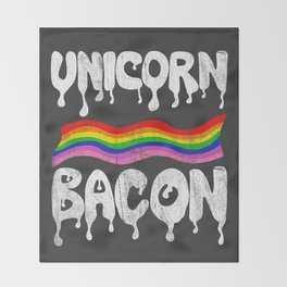 Unicorn Bacon Throw Blanket
