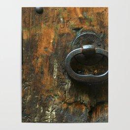Old Wooden Door with Keyholes Poster