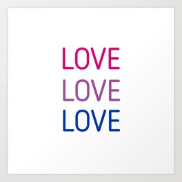 LOVE LOVE LOVE - Bisexual pride flag colors Art Print
