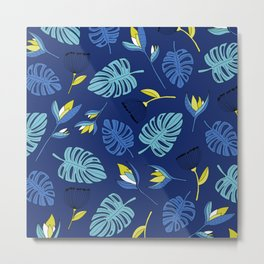 Tropical forest jungle monstera flowers pattern Metal Print