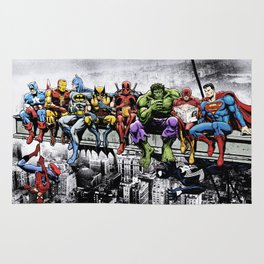 Superhero Lunch Atop A Skyscraper Rug