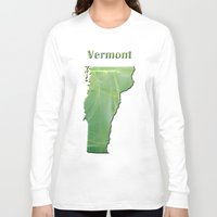 vermont Long Sleeve T-shirts featuring Vermont Map by Roger Wedegis
