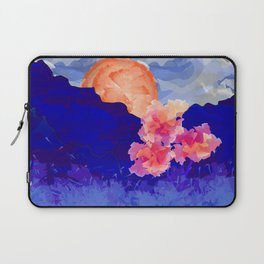 Vibrant Watercolor Mountains, Sunny, Flower Nature Abstract Art Mid-century Retro and Mindful vibes Laptop Sleeve