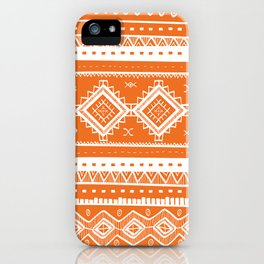 Tribal Aztec Lace Pattern (orange) iPhone Case