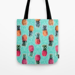 From Pineapple to Pink - tropical doodle pattern on mint Tote Bag