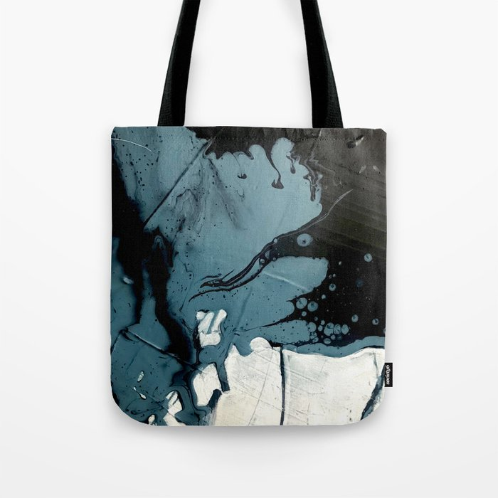 Fortune [5]: A bold, minimal, abstract mixed-media piece in blue and black Tote Bag