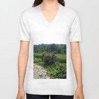 cape cod V-neck T-shirts featuring Cape Cod Bramble by JezRebelle