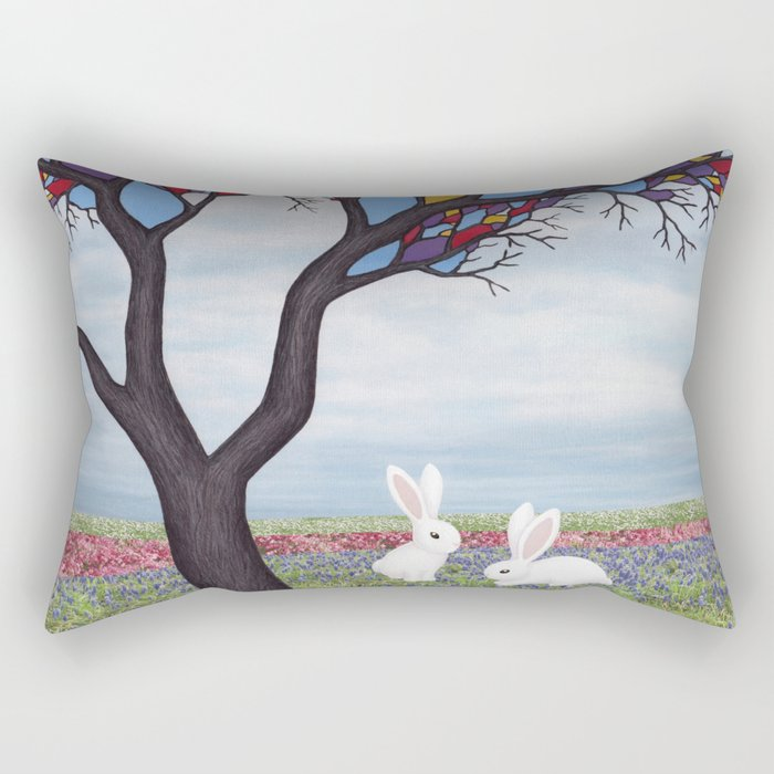 bunnies and the stained glass tree Rectangular Pillow