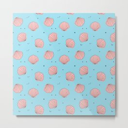 Sea shell pink blue pattern Metal Print