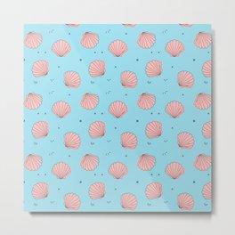 Sea shell pink blue pattern Metal Print