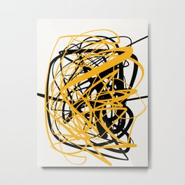 Zen abstract art in yellow and black Metal Print