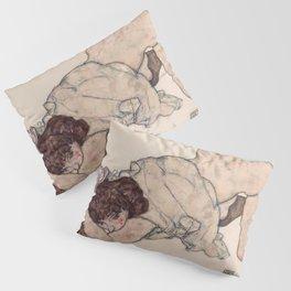KNEELING GIRL, RESTING ON BOTH ELBOWS - EGON SCHIELE Pillow Sham