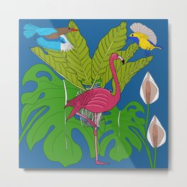 Felicity the pink flamingo in Tropical jungle Metal Print