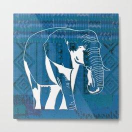 Elephant blue African textile Metal Print