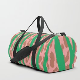 Green Stone Aged Leopard Stripes Pattern Duffle Bag